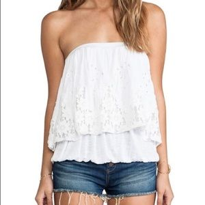 Free People White Lace Trim Crop Top